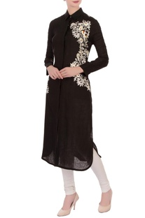 Black linen embroidered kurta