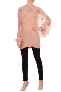 Blush pink georgette cape tunic