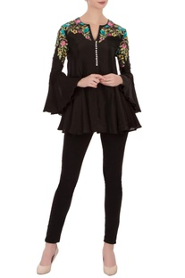 Black floral embroidered tussar silk tunic
