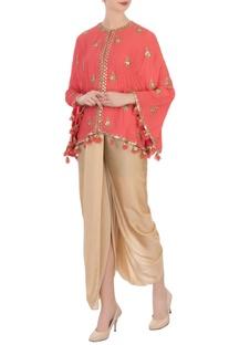 Coral pink georgette silk cape & cowl pants
