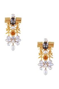 Gold played swarovski cupid earrings