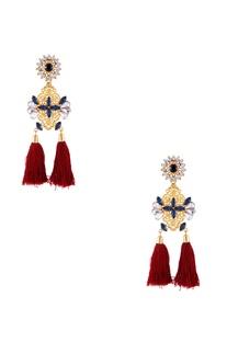 Gold swarovski mughal inspired earrings