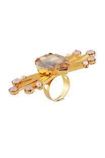 Gold plated swarovski spike ring
