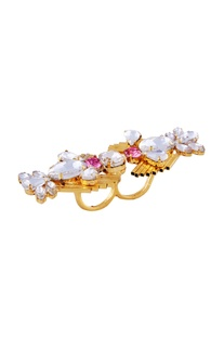 White & pink swarovski two-finger ring