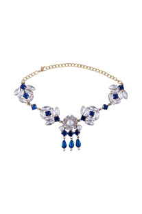 Deep blue swarovski statement necklace