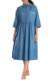 Sky blue shirt collar dress