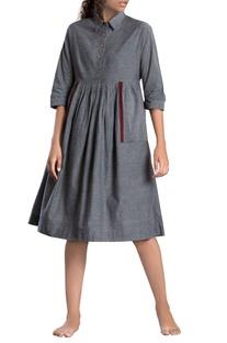 Grey handloom cotton midi dress