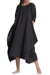 Black striped side cowl dress