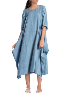 Blue antifit cowl style dress