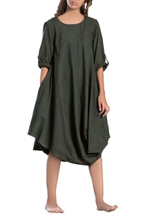 Military green cowl dress