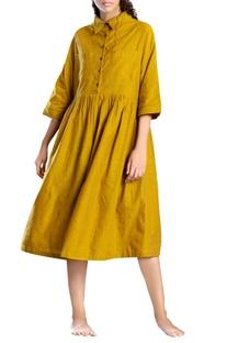 Yellow handloom cotton shirt dress