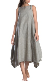 Ivory cowl checks dress