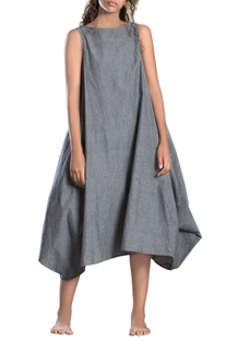 Grey striped side cowl dress