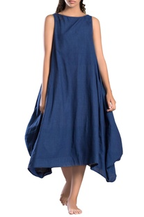Dark blue side cowl dress