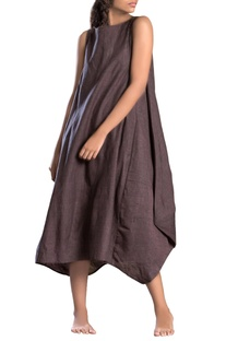 Grey side cowl solid dress