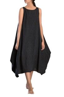 Black side cowl striped dress