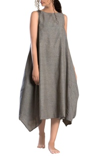 Grey side cowl textured dress