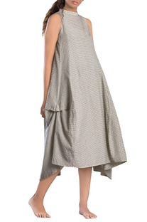 Grey check paneled asymmetrical dress