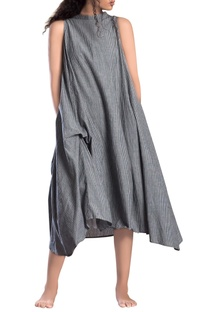 Grey striped paneled asymmetrical dress