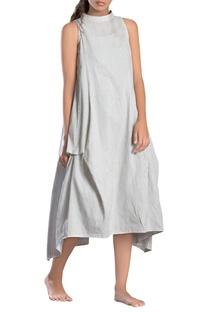 White striped paneled asymmetrical dress