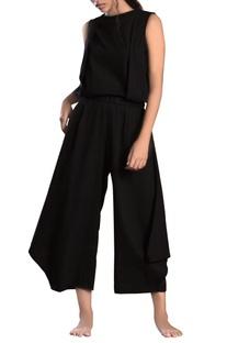 Black cowl linen khadi pants