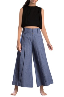 Blue khadi & linen parallel pants