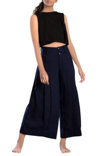 Navy blue linen & khadi parallel pants