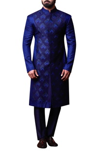 Blue patchwork style achkan