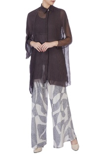 Ecru & dark grey sheer silk & organic handwoven cotton blouse and palazzo