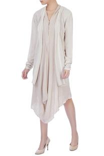 Ecru crinkle cotton oversized jacket