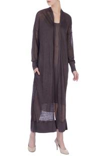 Charcoal black linen silk long jacket