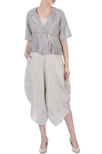 Light grey handwoven woolen & handwoven silk blouse and dhoti pants