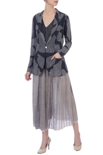 Light & dark grey organic handwoven cotton  jacket with skirt