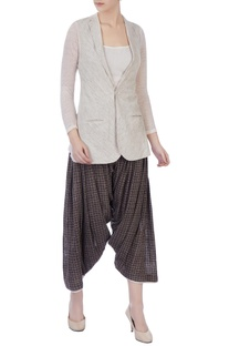 Grey hand-woven organic cotton jacket & patiala pants