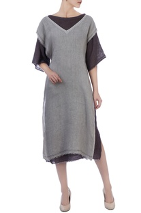 Grey & chocolate brown linen tunic