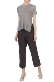 Charcoal grey loose cropped pants