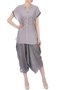 Grey hand woven silk top & pants