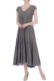 Grey & white stripe hand-woven cotton dress