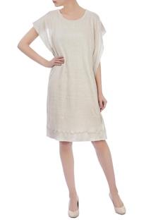 Ecru silk linen & organic handwoven cotton checked short dress