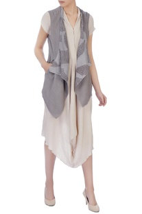 Light grey organic handwoven cotton shibori jacket