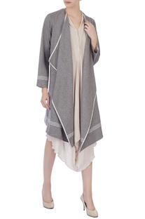 Light grey organic handwoven cotton open front jacket