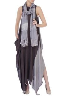 Grey hand woven silk scarf