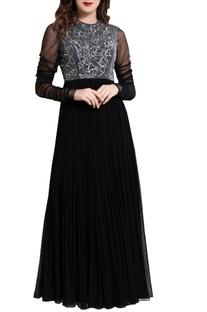 Black cutdana work maxi dress