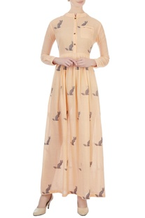 Tangerine cat motif printed maxi dress