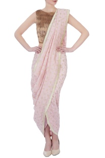 Baby pink silk & cotton chanderi embroidered dhoti sari