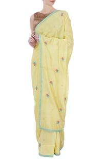 Yellow silk & cotton chanderi embroidered sari