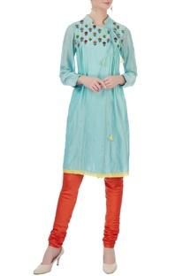 Blue silk & cotton chanderi embroidered angrakha kurta