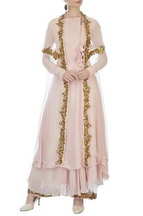 Onion pink georgette kurta & palazzos