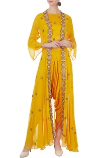 Yellow modal satin crop top with jacket & dhoti