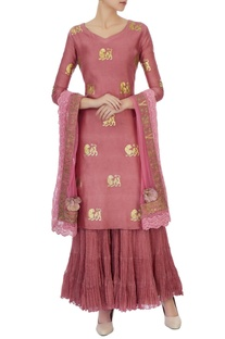 Pink chanderi lion motif kurta set